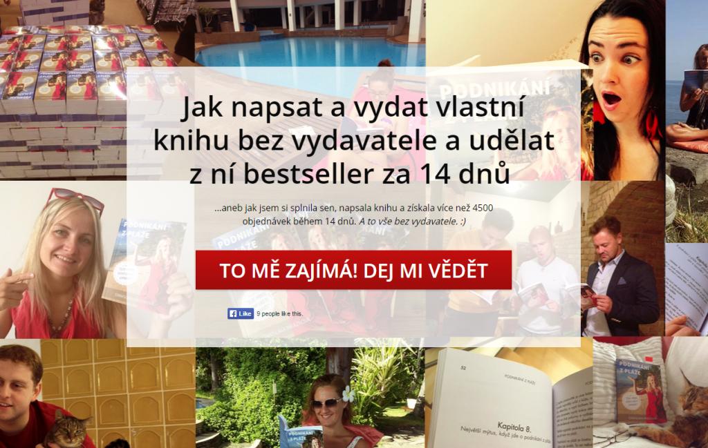 Fotografie známých osobností čtoucí Stáninu knihu na pozadí přihlášení do jejího infoproduktu